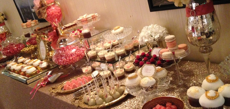 Gold Blush Wedding Dessert Table Chelsea Harbour Hotel