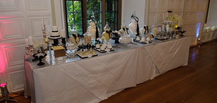 Hengrave Hall Black and White Dessert Table