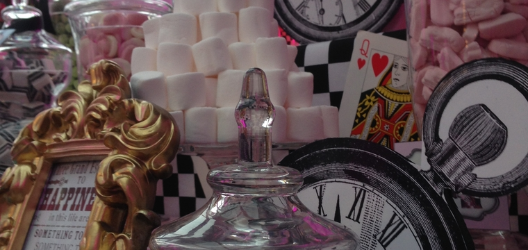 Paddocks House, Pink Alice in Wonderland Candy Buffet