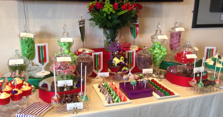 Green Red Purple Corporate Event Dessert and Sweet Table