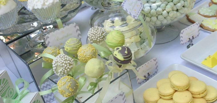 Lemon, Green and Grey Dessert Table for Baby shower in Mayfair