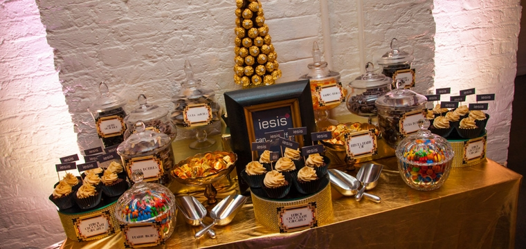 Gold Candy Buffet and Dessert Table at Film Museum London For Iesis