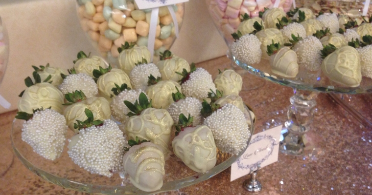 white chocolated dipped decorated strawberries