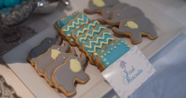 Homemade Iced Biscuits Baby Shower Dessert Table
