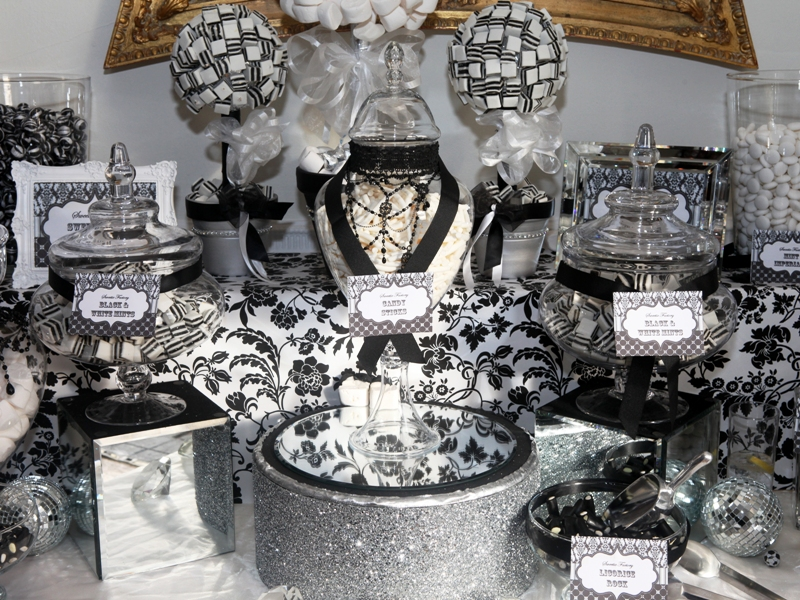 Black and white candy buffet ideas