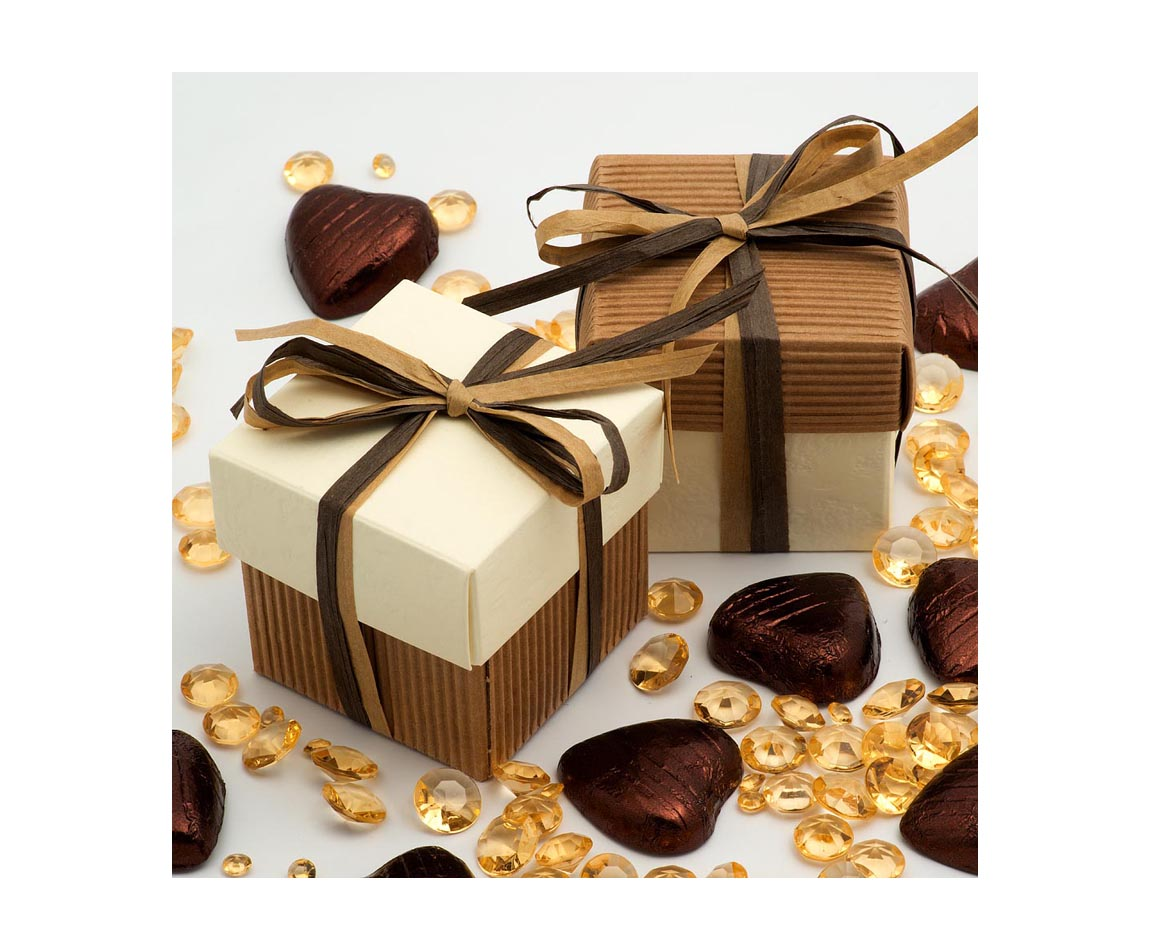 Two Tone Favour Box Brown and Ivory x 10 (Min 5)