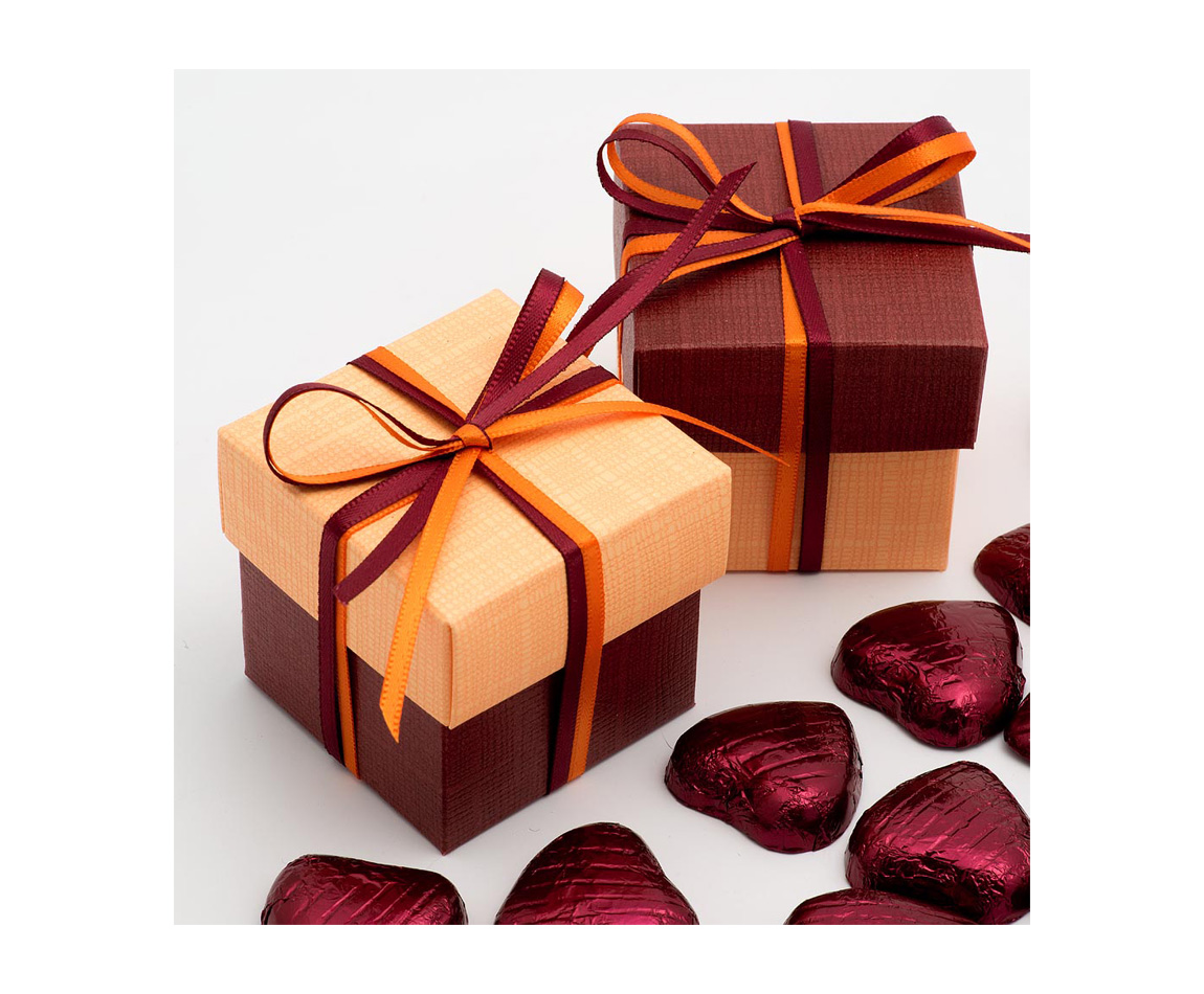 Two Tone Favour Box Burgandy and Orange x 10 (Min 5)