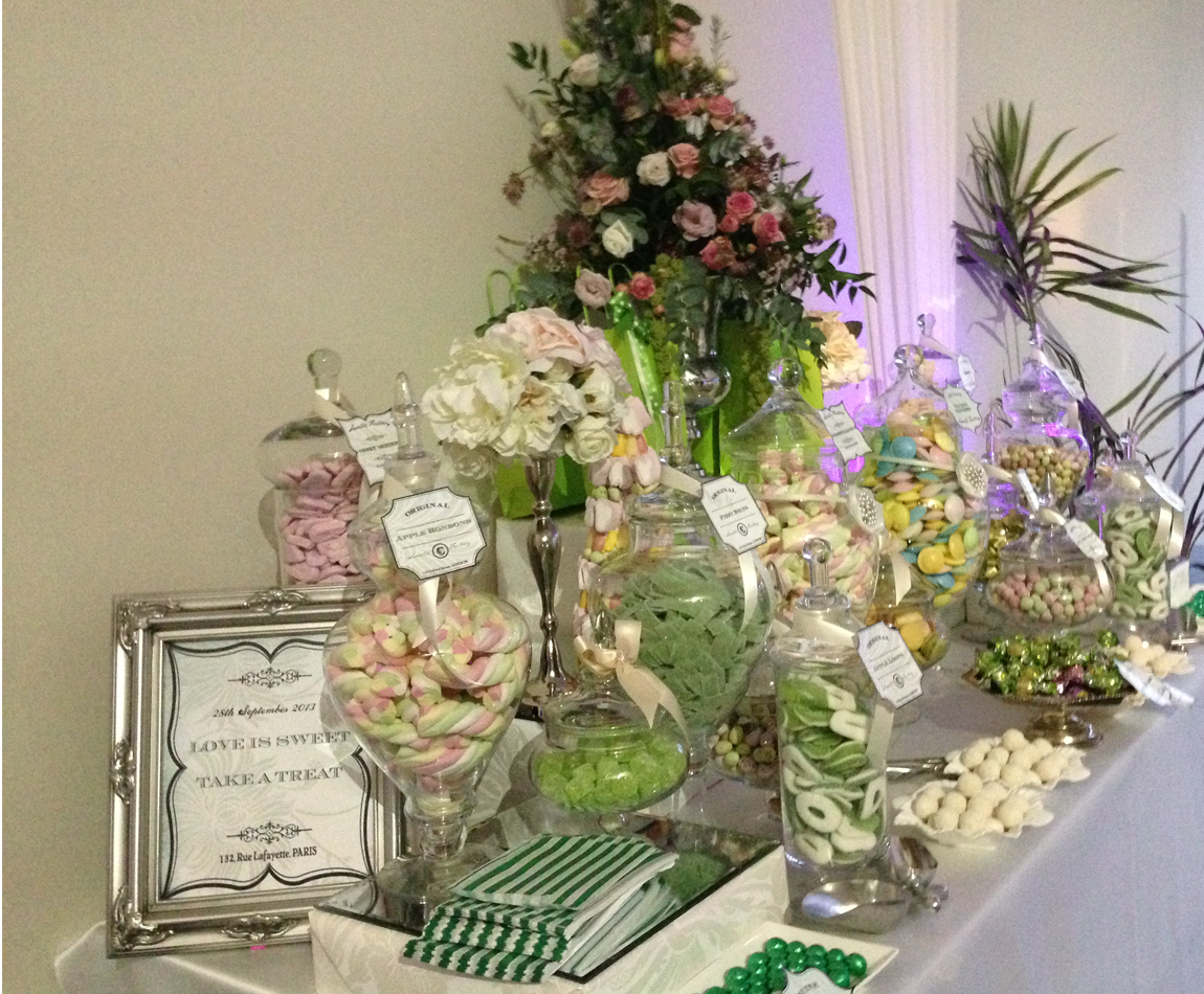 Green and Pink Candy Buffet