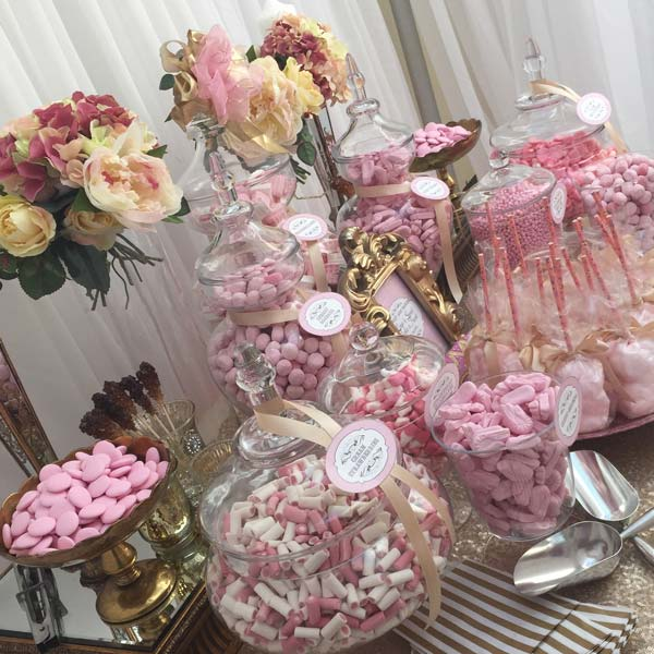 Wedding Sweetie Table Table Pink and gold