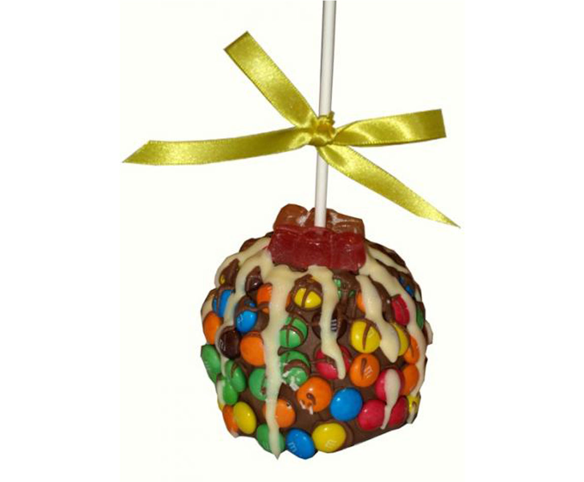 M & M covered Chocolate Caramel Apple