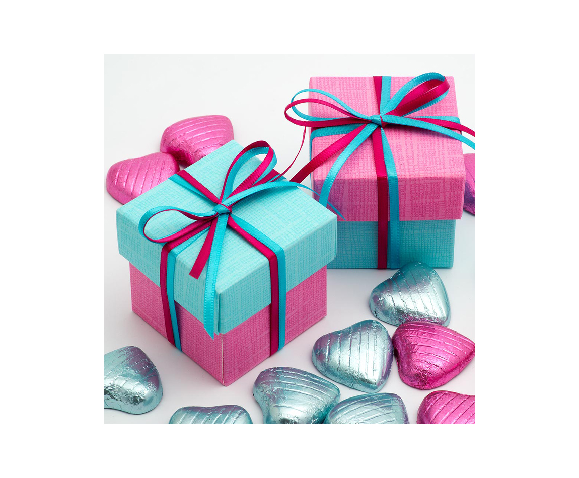 Two Tone Favour Box Blue and Pink x 10 (Min 5)