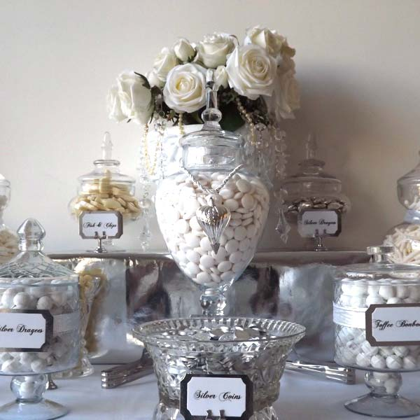 Wedding Candy Buffet In White And Silver Candy Buffets L
