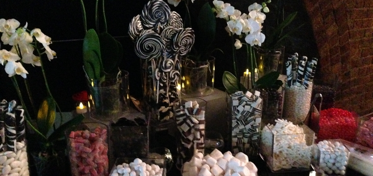 Shutterstock Pixels of Fury Corporate Event, Black white and Red Sweetie and Candy Buffet
