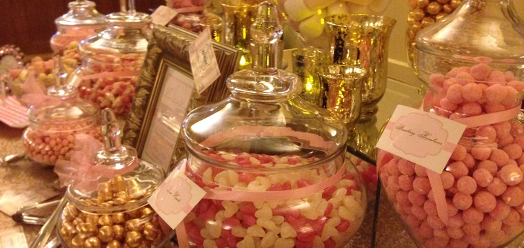 Great Fosters Wedding Pink and Gold Sweetie Table