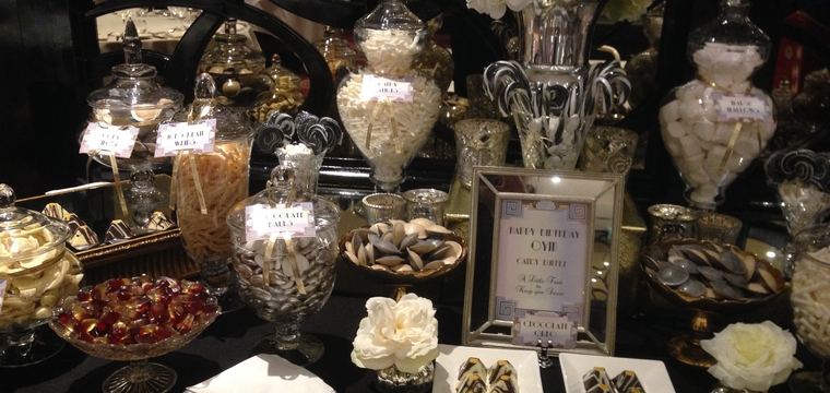 Black, White, Gold Candy Buffet and Sweetie Table for a Birthday Party Mayfair Hotel