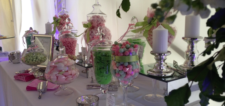 Pink and Green Candy Buffet at Marquee wedding in Suffolk