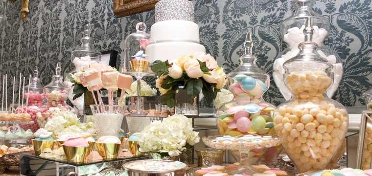 Gold and Pastels Wedding Dessert Table Claridges