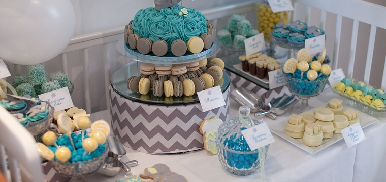 Blue, Grey and Yellow Elephant Themed Baby Shower Dessert Table