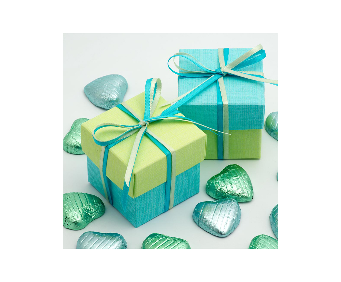 Two Tone Favour Box Blue and Lime x 10 (Min 5)