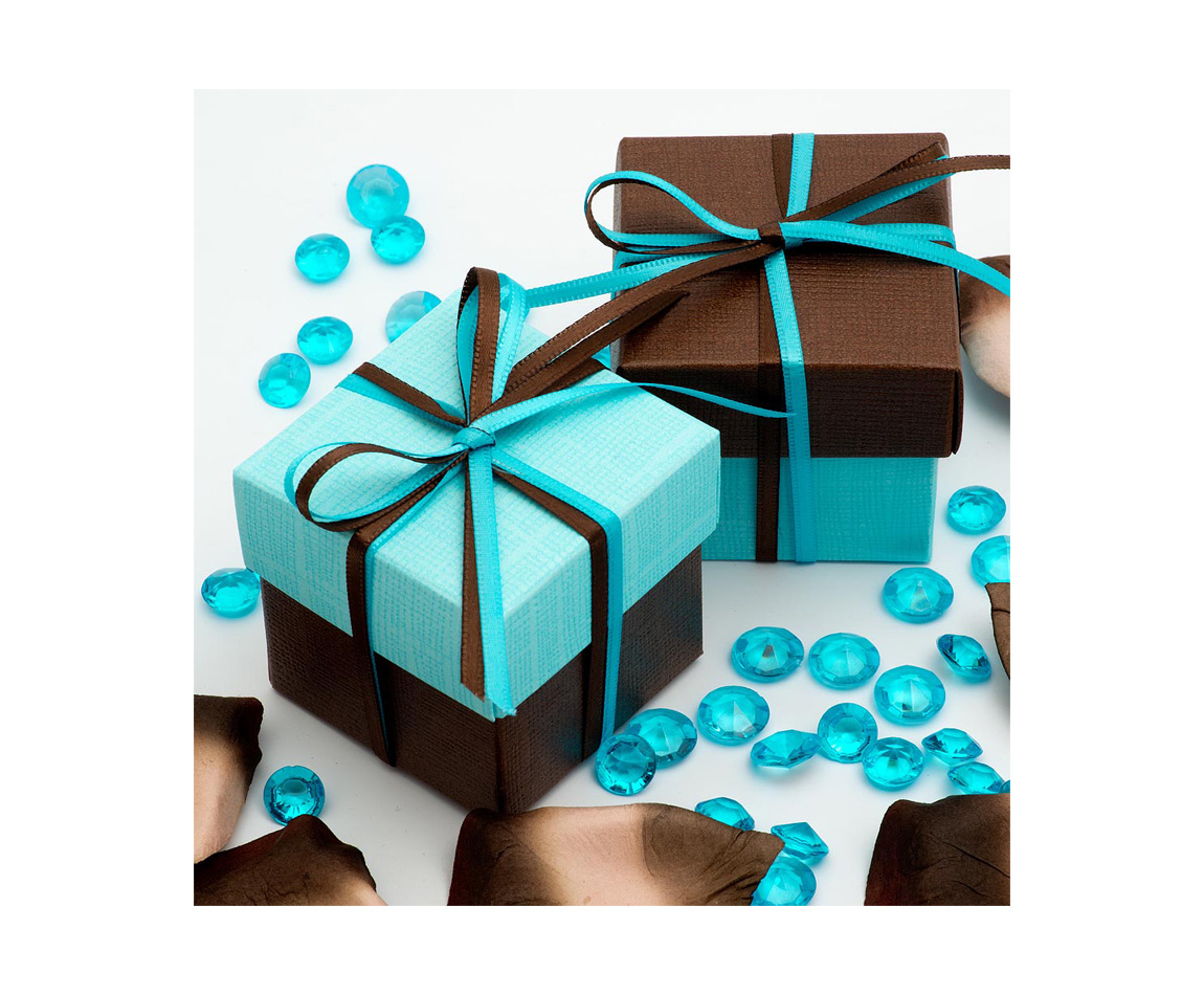 Two Tone Favour Box Blue and Brown x 10 (Min 5)