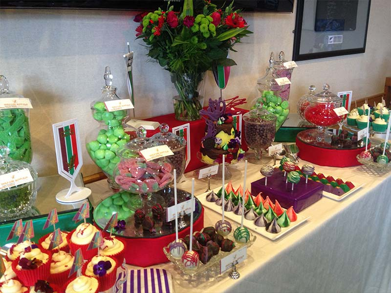 Red Green Purple Red Corporate Dessert Table