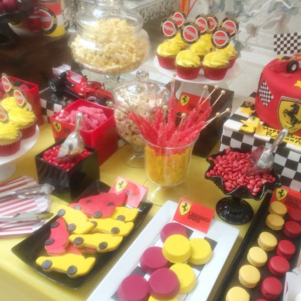 Ferrari Red and Yellow Dessert Table