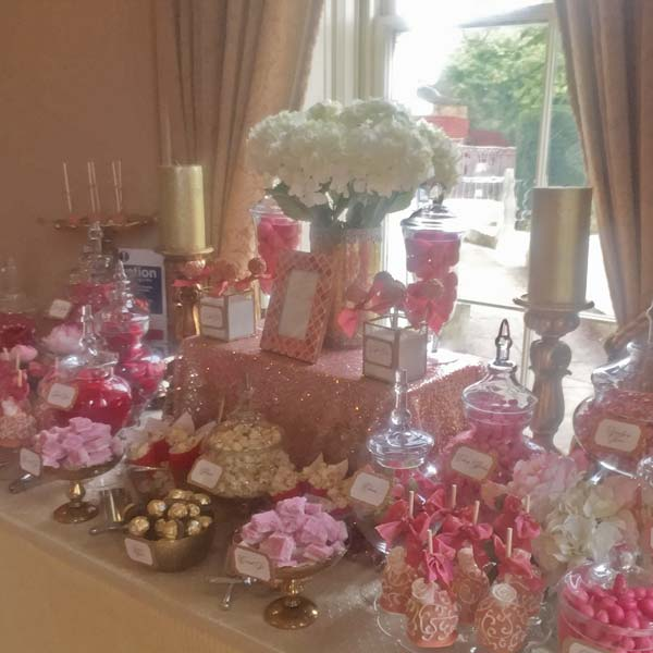 Wedding Dessert Table in Gold and Corals