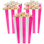 Hot Pink Striped Popcorn Treat Boxes x5