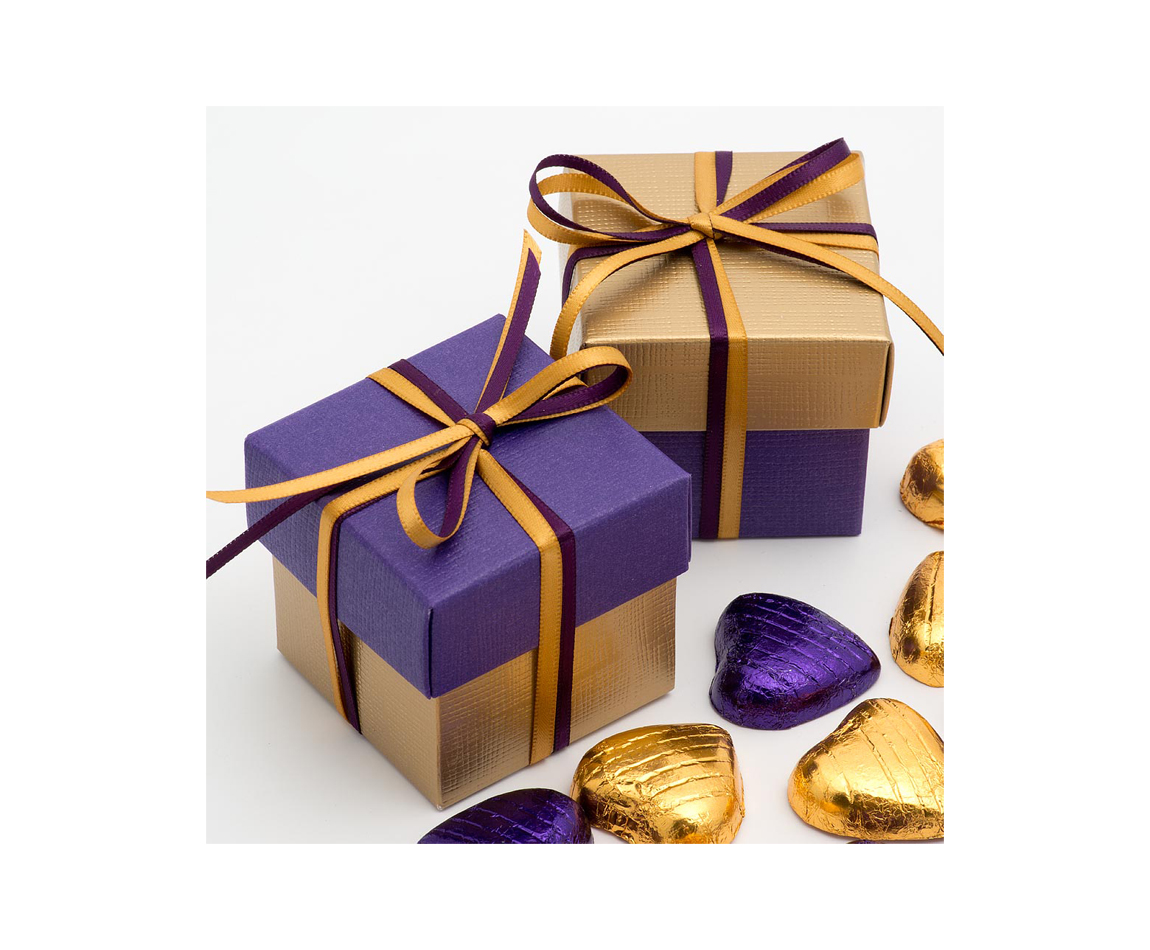 Two Tone Favour Box Gold and Purple x 10 (Min 5)