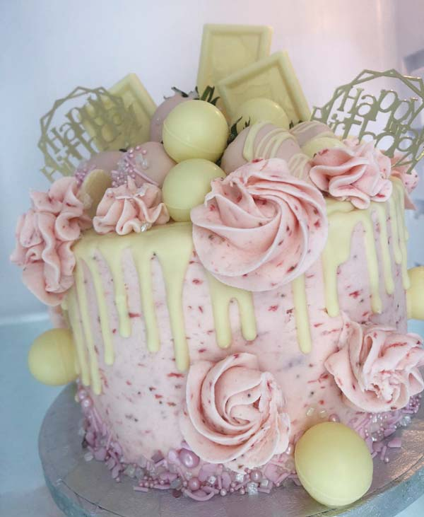 Strawberry Vanilla Buttercream Drip Cake