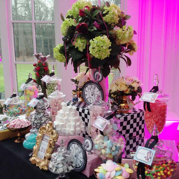 Candy buffet wedding candy buffets l sweetie tables l dessert pink alice in wonderland sweetie table junglespirit Choice Image