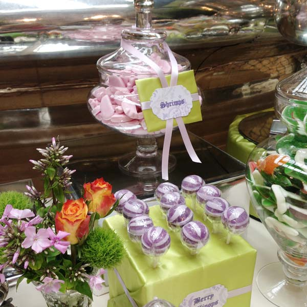 Green and Liliac Wedding Candy Buffet