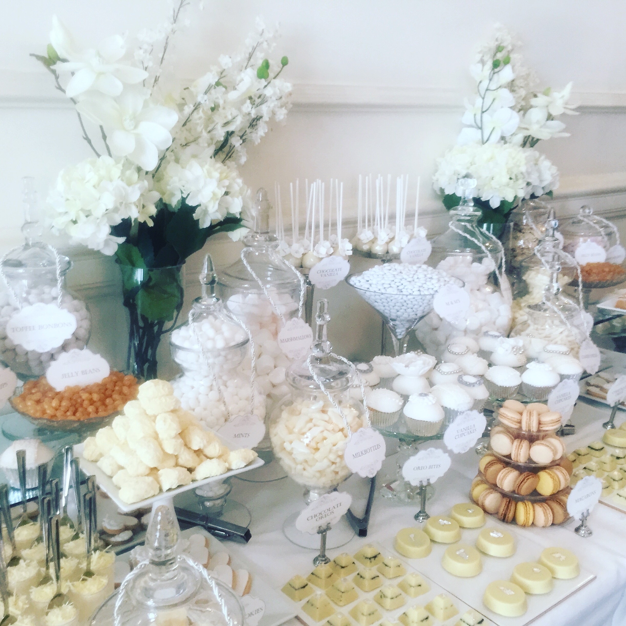 Candy buffet wedding candy buffets l sweetie tables l dessert wedding dessert table in white junglespirit Choice Image