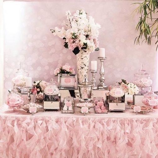 White Wedding Dessert Table: Pink, White And Silver Dessert Table